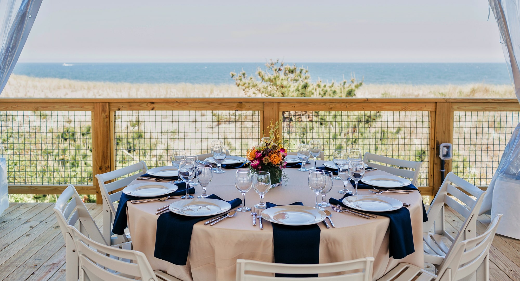 Big Chill Beach Club table setting at venue